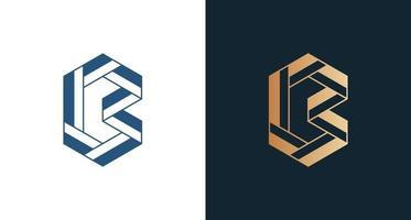 elegante logo geometrico lettera b in forma unica vettore