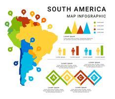 Sud America Mappa Infografica vettoriale