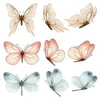 bella collezione di farfalle ad acquerello in diverse posizioni vettore