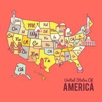 Vettore variopinto della mappa degli Stati Uniti d'America