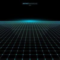 prospettiva di griglia blu concetto futuristico tecnologia astratta su sfondo nero e illuminazione con spazio per il testo vettore