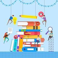educazione e apprendimento con libri, stile illustrazione piatta vettore