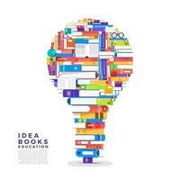 pile colorate di libri a forma di lampadina. i libri contengono idee vettore