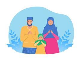 i genitori e il bambino musulmani felici pregano sui caratteri religiosi di festa sulla bandiera di web di vettore piatto del fumetto