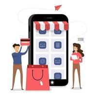 shopping online mobile commerce vettore