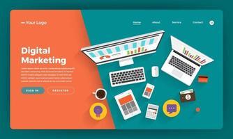 design mockup per sito Web di marketing digitale vettore