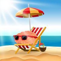 illustrazione cartone animato concetto cervello si rilassa sulla spiaggia vettore