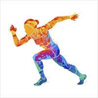 astratto di una donna che corre velocista a breve distanza da schizzi di acquerelli. illustrazione vettoriale di vernici