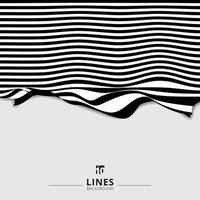 fondo dell'onda della banda della linea curva in bianco e nero a strisce astratto. vettore