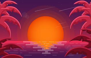 Vector Colorful Red Landscape Illustration