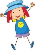 una ragazza che indossa un cappello personaggio dei cartoni animati in stile doodle disegnato a mano vettore