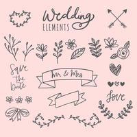 Elementi di nozze disegnati a mano vettore