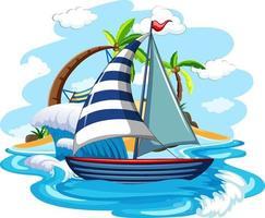 una barca a vela sulle onde d'acqua isolate su sfondo bianco vettore