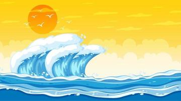 paesaggio della spiaggia alla scena del tramonto con le onde dell'oceano vettore