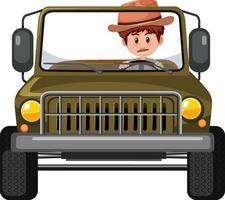 concetto di zoo con autista uomo in macchina jeep isolata vettore