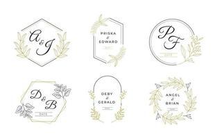 collezione di monogrammi di nozze di lusso vettore