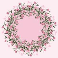 vettore corona floreale rosa