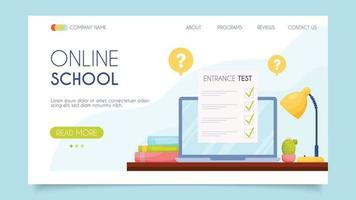 scuola online. concetto di pagina di destinazione. design piatto, illustrazione vettoriale. vettore