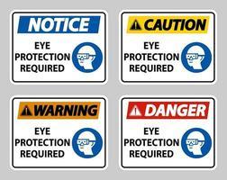 protezione degli occhi richiesta su sfondo bianco vettore