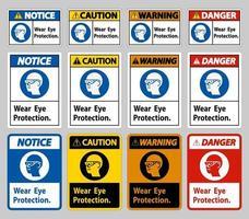 segno indossare protezione per gli occhi su sfondo bianco vettore