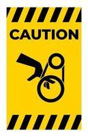 mano intrappolamento trasmissione a cinghia segno simbolo, illustrazione vettoriale, isolato su sfondo bianco etichetta .eps10 vettore