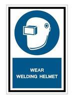 simbolo indossare casco per saldatura isolare su sfondo bianco vettore