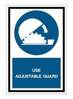 simbolo uso protezione regolabile isolare su sfondo bianco vettore