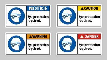 firmare la protezione degli occhi necessaria su sfondo bianco vettore