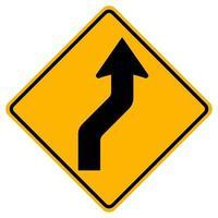Curvo a destra traffico stradale simbolo segno isolare su sfondo bianco, illustrazione vettoriale