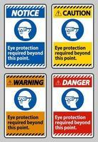protezione degli occhi richiesta oltre questo punto su sfondo bianco vettore
