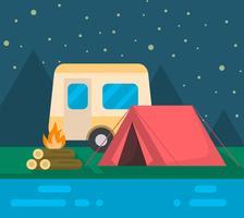 Paesaggio da campeggio vettore