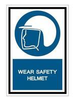 indossare il simbolo del casco di sicurezza isolare su sfondo bianco, illustrazione vettoriale eps.10