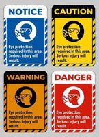 protezione degli occhi necessaria in quest'area, si rischiano lesioni gravi vettore