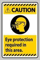 segnale di attenzione protezione degli occhi richiesta in quest'area vettore