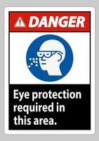 segnale di avvertimento protezione degli occhi richiesta in quest'area vettore