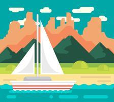 Illustrazione di paesaggio pianeggiante vettore
