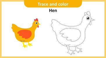 traccia e colora la gallina vettore