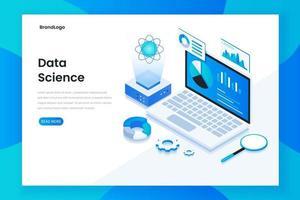 concetto isometrico moderno design piatto della scienza dei dati vettore