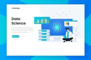 concetto di pagina di destinazione della scienza dei dati vettore