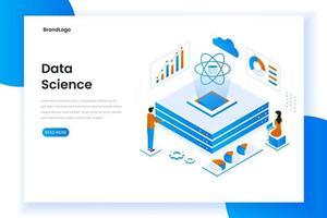 concetto isometrico moderno design piatto di scienza dei dati vettore