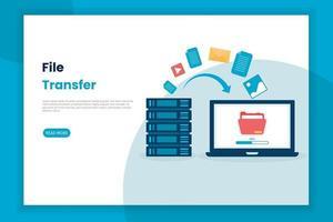 illustrazione design piatto del trasferimento di file dal server al laptop vettore
