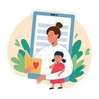 babysitter online e concetto di educazione vettore piatto
