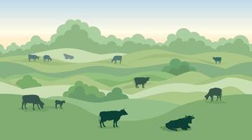 paesaggio rurale del caseificio con le mucche sopra l'orizzonte panoramico senza cuciture della campagna. skyline di colline, prati, alberi e campi. sfondo della natura estiva. erba da pascolo per le mucche. vettore