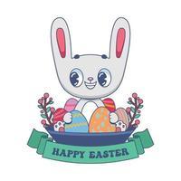 coniglietto di pasqua sveglio del fumetto che tiene le uova festive vettore