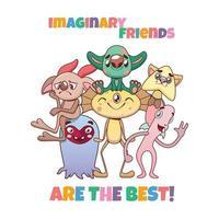 divertente gruppo colorato vario di amici mostri immaginari vettore