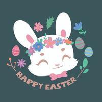 simpatico coniglietto di Pasqua ritratto ed elementi di Pasqua vettore