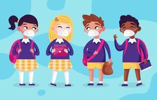 personaggi dei bambini che tornano a scuola con protocollo vettore