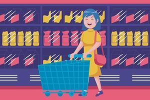 giovane donna che cammina con il carrello vuoto al supermercato vettore