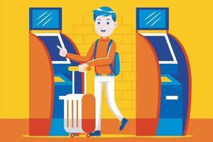 giovane che utilizza la macchina del biglietto automatico all'aeroporto. vettore