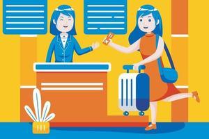 donna effettua il check-in al cancello del banco della reception all'aeroporto internazionale. vettore